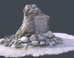 Rock Plaque Memorial Scan plus Lower Poly 3D