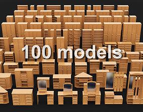 3D model racks Set of Cabinet furniture