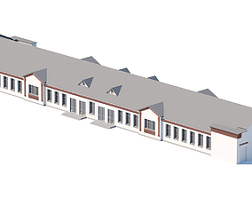 Mid-poly public city building 3D