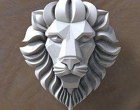 3D model low-poly lion head danger