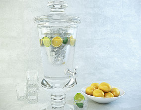 3D model Carafe of lemonade glasses and a plate with lemon