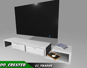 low-poly Living Room TV-Stand Low-poly 3D model