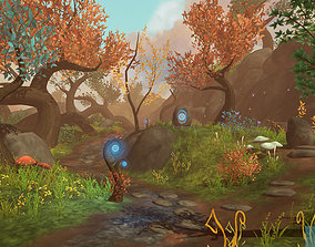 Fantasy Root Forest - Game Props 3D model