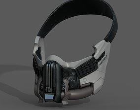 low-poly Gas mask helmet 3d model military combat fantasy
