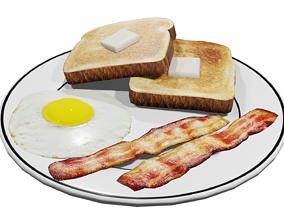3D asset Plate of Breakfast