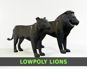 Lion Pair 3D asset rigged