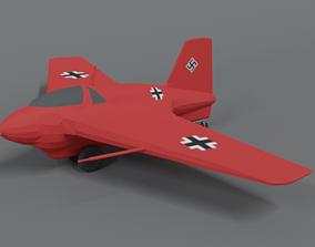 3D asset Low Poly Cartoon Messerschmitt Me 163 Komet