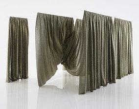 3D Grey see through window curtains