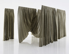Grey see through window curtains 3D model