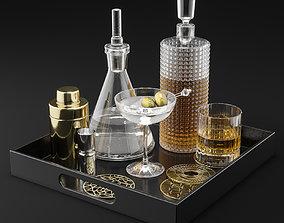 CB2 Barware Coffee Table Decor Set 3D model