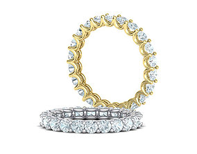 Eternity Diamond Ring 3d model many sizes