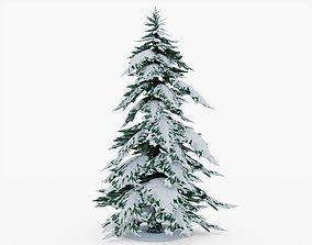 Snowy Pine Tree 3D model game-ready