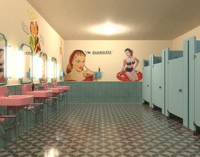 3D asset 50s restroom