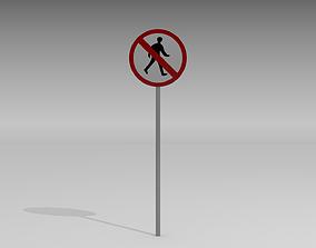 3D Pedestrians prohibited sign