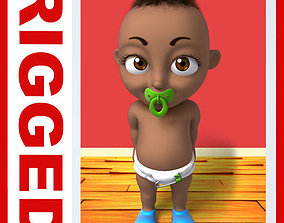 3D Black baby Cartoon Rigged