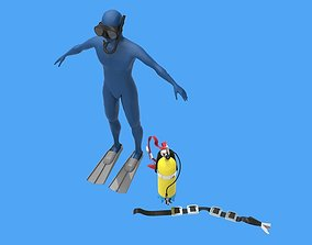 3D model game-ready Diver
