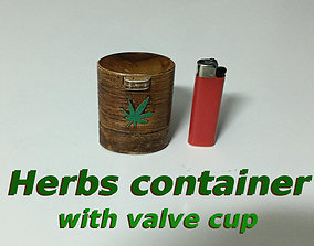 3D printable model Herb container with valve cup opening