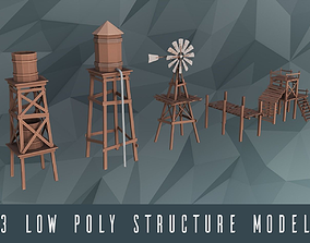 animated Low poly construction models