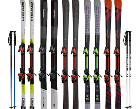 Skis and poles 3D asset