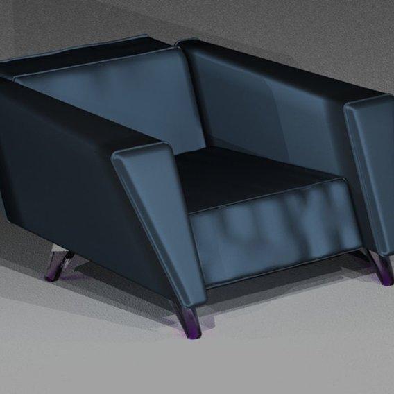 Design chair in deep blue satin
