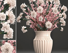 Decorative bouquet of flowers petals 3D
