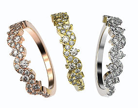 Gold diamond band 3d printable model silver wedding 2