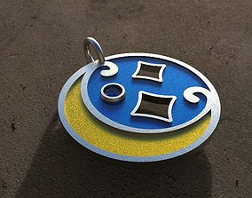 Pendant moon with enamels 3D printable model