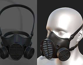 Gas mask protection isolated equipment 3D asset