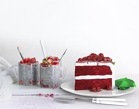 3D model Red berry Cake Slice