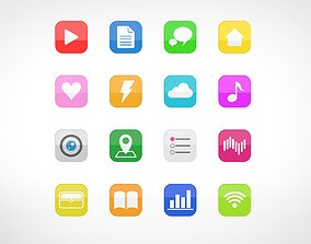 app multi color icons 3d rendering