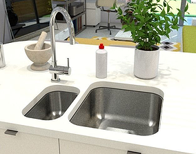 3D asset kitchen sink double inset 2