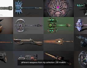 3D model different weapons from my collection lowpoly