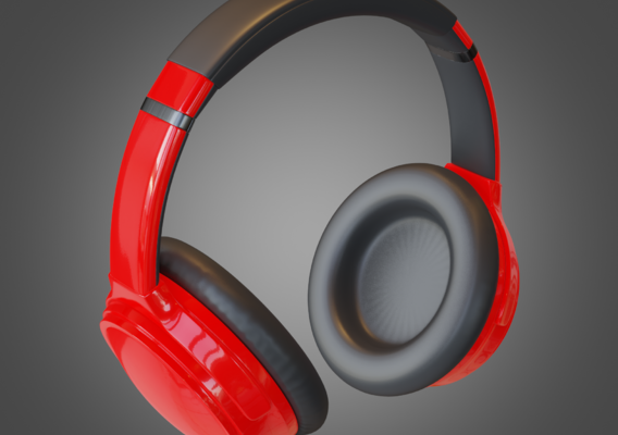 Headphone Red Lowpoly Pbr Subdivision Ready