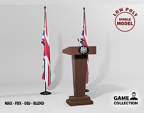 English Presidential podium 3D asset
