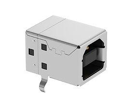 USB Type B Female 3D model