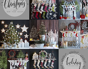 3D Big set of Christmas and New Year decorations - Part 1
