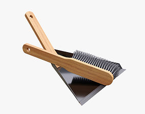 3D model Wood brush with dustpan