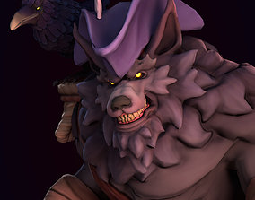 Pirate Wolf with Raven 3D model