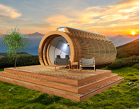 GLAMPING POD VACATION HOUSE MOBILE HOME TINY 3D model 1