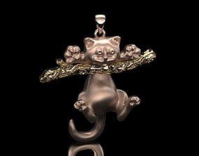 3D printable model cat pendant No 02