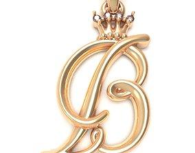 Alphabet Initial pendant letter 3D print model 1