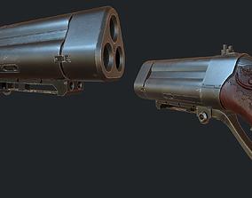 3D asset low-poly Triple Barrel Pistol