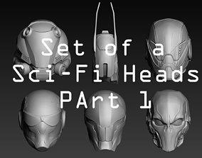 cyber 3D Set of a Sci-Fi Heads Part 1