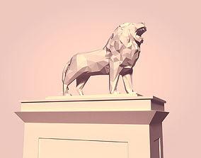 Cartoon Lion Statue - Low Poly 3D asset