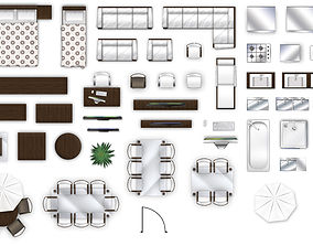 3D model 2d furniture top-down view style-2