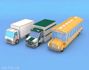 Bus Truck Lorry City Cars Pack 3D asset