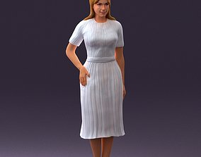 Woman in white edged dress 0585 3D Print Ready