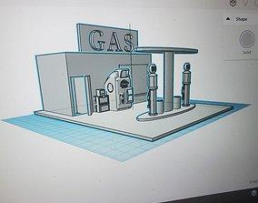 3D printable model hot wheels gas station