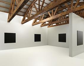 VR Art Gallery - Wooden Beams 3D model