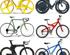 3D model collection 6 Textured Bicycles